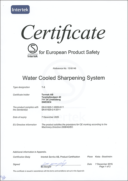 Intertek S Mark Certificate T-8